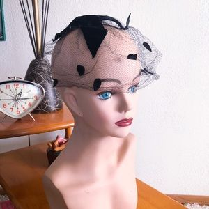 Vintage 1950s Hat Net Fascinator Pinup Rockabilly
